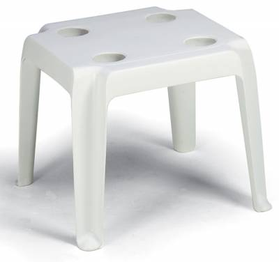 Grosfillex Patio Furniture - Occasional Tables & Umbrellas - Oasis Resin Stack Table with Cup Holders - Sold in Packs of 14