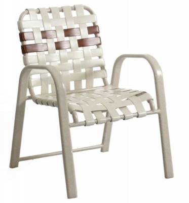Poolside Furniture - Vinyl Strap Furniture - Welded Contract Bonaire Stacking Cross Strap Chair