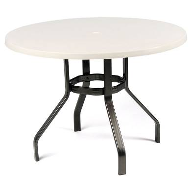 "Poolside Furniture - 48"" Round Fiberglass Top Table"