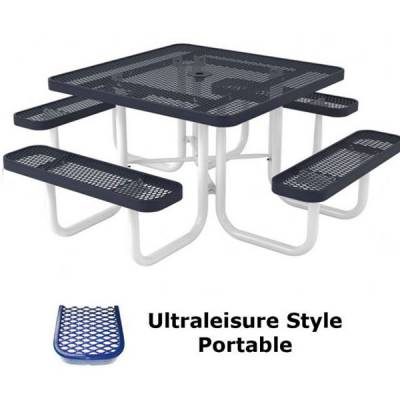 """Picnic Tables - Thermoplastic Coated - 46"""" Square UltraLeisure Picnic Table - Portable, Surface and Inground Mount"""