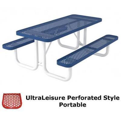 Picnic Tables - Thermoplastic Coated - 6' and 8' UltraLeisure Perforated Picnic Table - Portable
