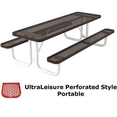 6' and 8' UltraLeisure Perforated Picnic Table - Portable - Image 2