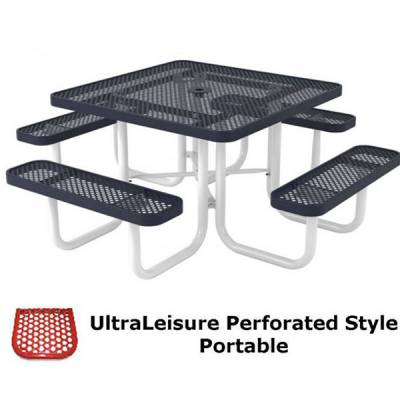 "Picnic Tables - Thermoplastic Coated - 46"" Square UltraLeisure Perforated Picnic Table - Portable."
