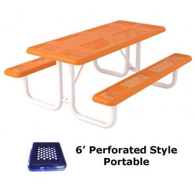 Picnic Tables - Thermoplastic Coated - 6' and 8' Perforated Picnic Table - Portable, Surface and Inground Mount