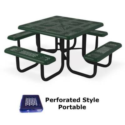 "Picnic Tables - Thermoplastic Coated - 46"" Square Perforated Picnic Table  - Portable, Surface and Inground Mount"