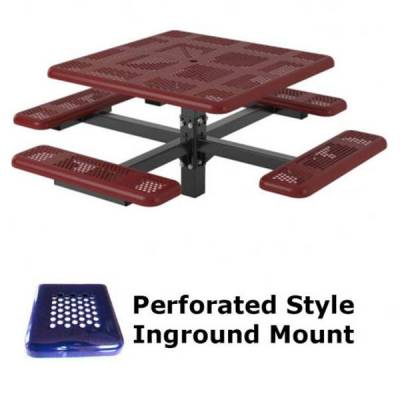 """46"""" Square Perforated Picnic Table  - Portable, Surface and Inground Mount - Image 2"""