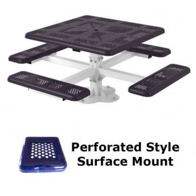 """46"""" Square Perforated Picnic Table  - Portable, Surface and Inground Mount - Image 3"""