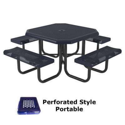 "Picnic Tables - Thermoplastic Coated - 46"" Octagon Perforated Picnic Table - Portable"