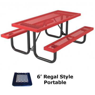 Picnic Tables - Thermoplastic Coated - 6' and 8' Regal Picnic Table - Portable, Surface and Inground Mount