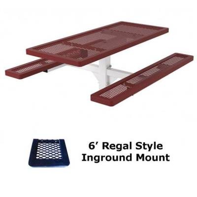 4', 6' and 8' Regal Picnic Table - Portable, Surface and Inground Mount - Image 2