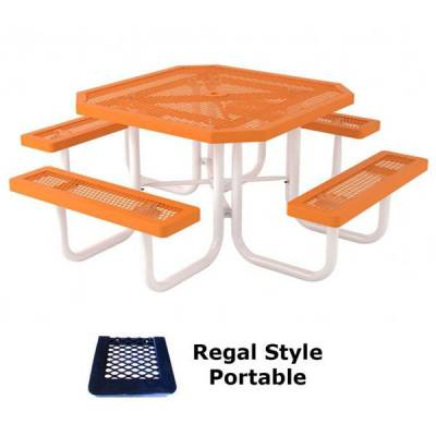 "Picnic Tables - Thermoplastic Coated - 46"" Octagon Regal Picnic Table - Portable"
