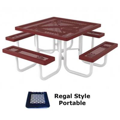 "Picnic Tables - Thermoplastic Coated - 46"" Square Regal Picnic Table - Portable, Surface and Inground Mount"