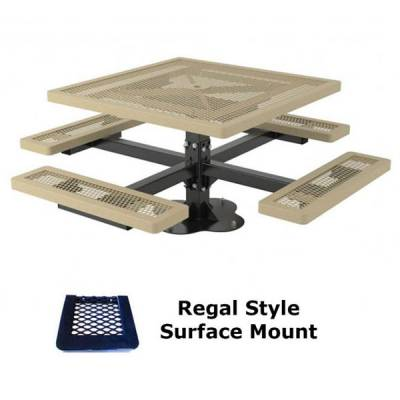 """46"""" Square Regal Picnic Table - Portable, Surface and Inground Mount - Image 2"""