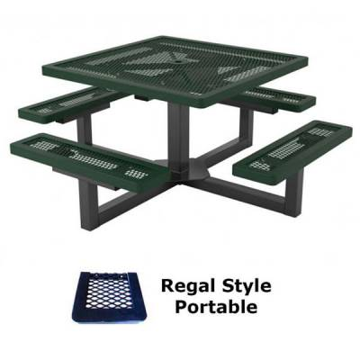 "Picnic Tables - Thermoplastic Coated - 46"" Square Regal Pedestal Picnic Table - Portable"