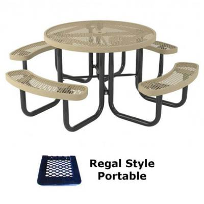 "Picnic Tables - Thermoplastic Coated - 46"" Round Regal Picnic Table - Portable, Surface and Inground Mount"