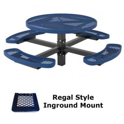 "46"" Round Regal Picnic Table - Portable, Surface and Inground Mount - Image 3"
