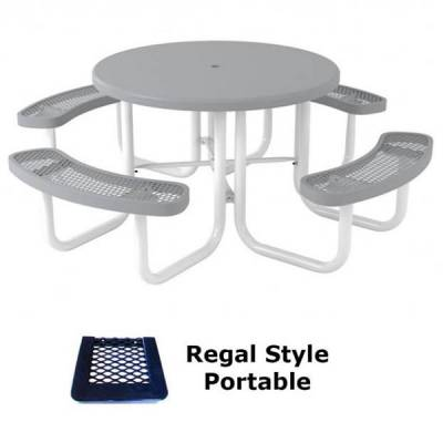 "Picnic Tables - 46"" Round Regal Picnic Table, Solid Top  - Portable, Surface and Inground Mount"