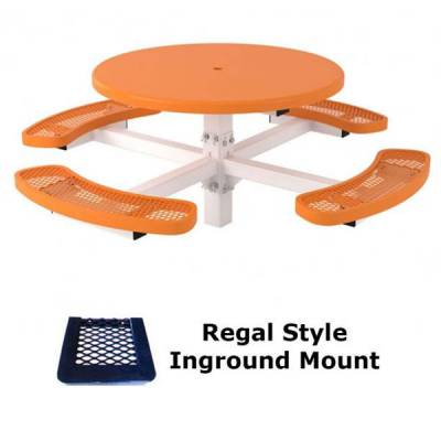 "46"" Round Regal Picnic Table, Solid Top  - Portable - Image 2"