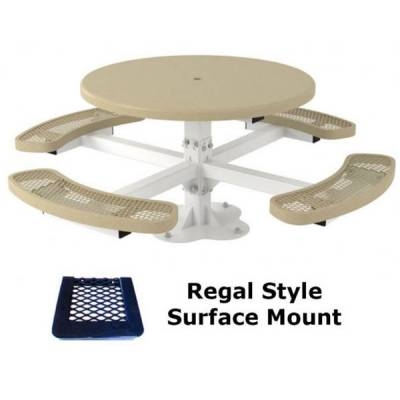 "46"" Round Regal Picnic Table, Solid Top  - Portable - Image 3"