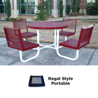 "Picnic Tables - Thermoplastic Coated - 42"" Round Regal Picnic Table - Portable"