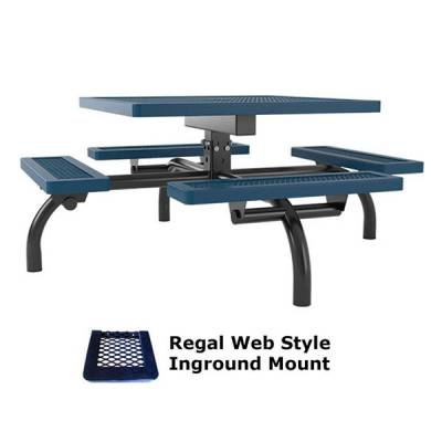 "46"" Square Regal Web Picnic Table  - Portable/Surface and Inground Mount - Image 2"