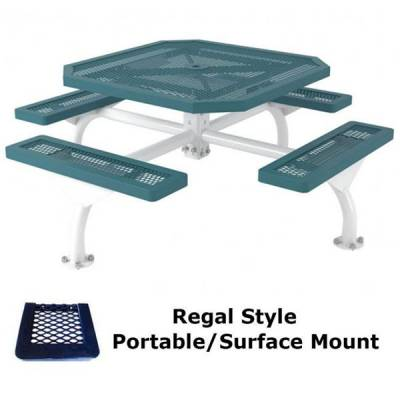 "Picnic Tables - 46"" Octagonal Regal Web Picnic Table - Portable/Surface and Inground Mount"