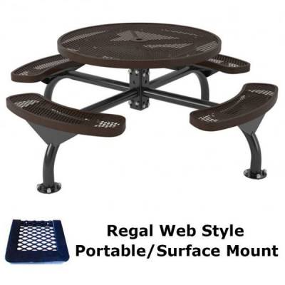 "Picnic Tables - 46"" Round Regal Web Picnic Table - Portable/Surface and Inground Mount"