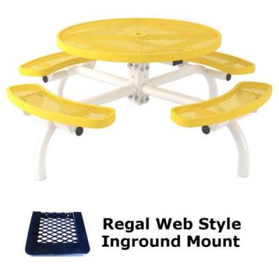 """46"""" Round Regal Web Picnic Table - Portable/Surface and Inground Mount - Image 2"""