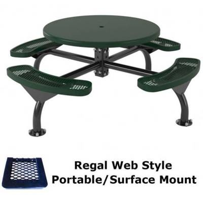 "Picnic Tables - 46"" Round Regal Web Table, Solid Top - Portable/Surface and Inground Mount"