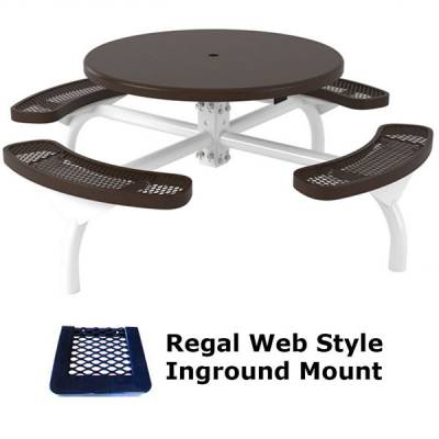 """46"""" Round Regal Web Table, Solid Top - Portable/Surface and Inground Mount - Image 2"""