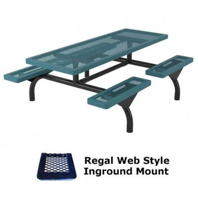 8' Regal Web Picnic Table - Portable/Surface and Inground Mount - Image 2