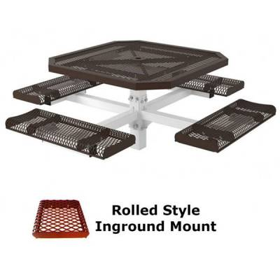 """46"""" Octagon Rolled Picnic Table - Portable, Surface and Inground Mount - Image 2"""