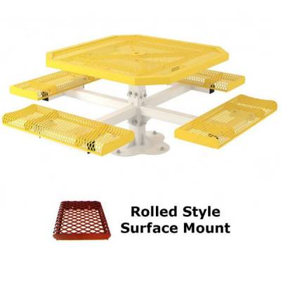 """46"""" Octagon Rolled Picnic Table - Portable, Surface and Inground Mount - Image 3"""