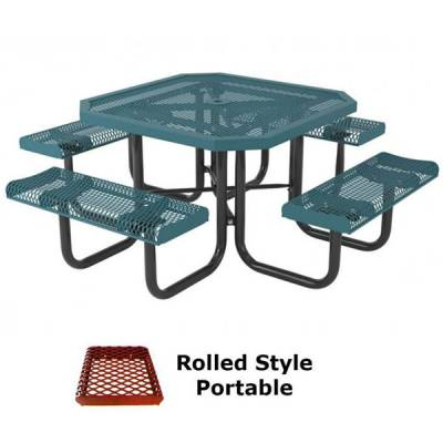 "Picnic Tables - 46"" Octagon Rolled Picnic Table - Portable, Surface and Inground Mount"