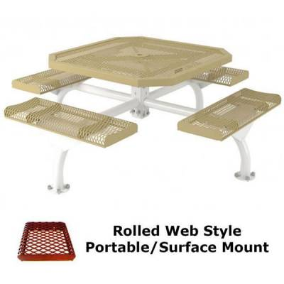 """46"""" Octagonal Rolled Web Picnic Table - Portable, Surface and Inground Mount - Image 2"""