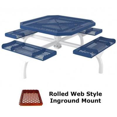 "Picnic Tables - 46"" Octagonal Rolled Web Picnic Table - Portable, Surface and Inground Mount"