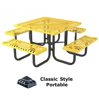 "Picnic Tables - 46"" Square Classic Picnic Table - Portable, Surface and Inground Mount"