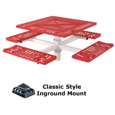 "46"" Square Classic Picnic Table - Portable, Surface and Inground Mount - Image 2"
