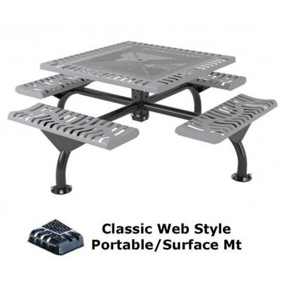 """Picnic Tables - 46"""" Square Classic Web Picnic Table - Portable/Surface and Inground Mount"""