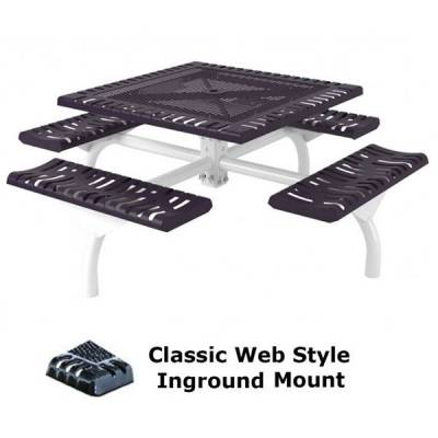 "46"" Square Classic Web Picnic Table - Portable/Surface and Inground Mount - Image 2"