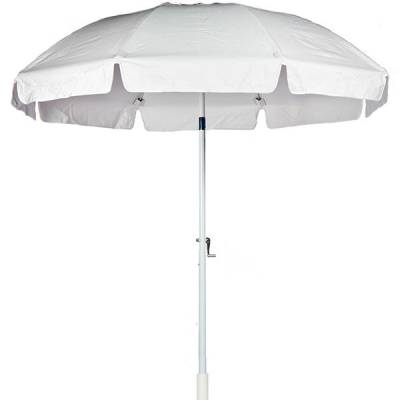 Umbrellas and Bases - Quick Ship Umbrellas - 7 1/2 Ft. Flat Top Umbrella, Fiberglass Ribs - Crank Lift with Tilt