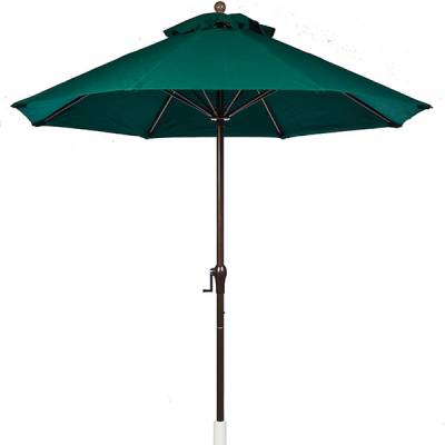 Umbrellas and Bases - Quick Ship Umbrellas - 7 1/2 Ft. Commercial Aluminum Market Umbrella, Fiberglass Ribs - Crank Up without Tilt
