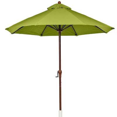 Umbrellas & Bases - Quick Ship Umbrellas - 9 Ft. Monterey Aluminum Market Umbrella, Fiberglass Ribs - Crank Up without Tilt