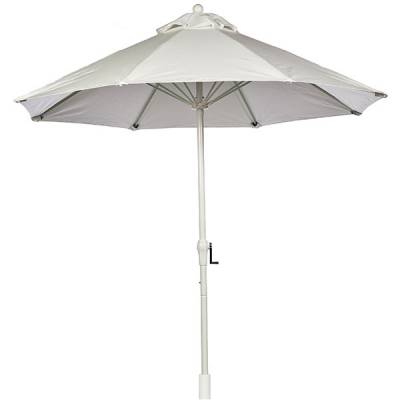 Umbrellas & Bases - Quick Ship Umbrellas - 9 Ft. Monterey Aluminum Market Umbrella, Fiberglass Ribs - Crank Lift with Auto Tilt