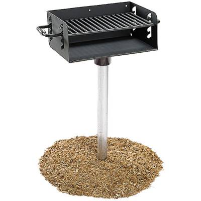 Grills and Fire Rings - Park Grills - Adjustable Rotating Grill, 300 Sq. Inch - Inground Mount