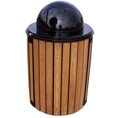 32 Gallon Township Trash Receptacle - Oak Slats - Image 1