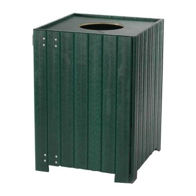 20, 32, and 55 Gallon Square Recycled Plastic Trash Receptacle  - Image 2