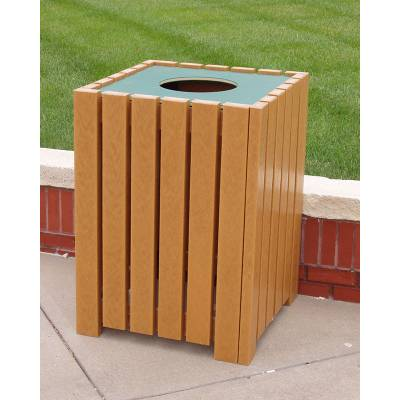 32 and 55 Gallon Square Recycled Plastic Trash Receptacle - Quick Ship - Image 3