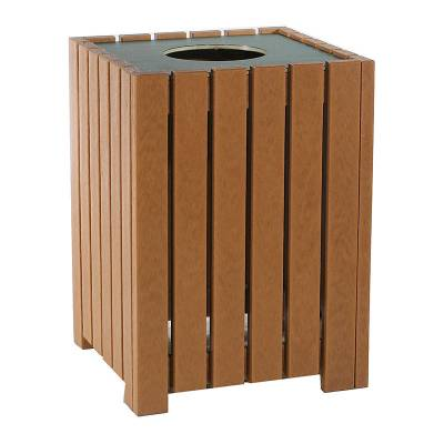 Trash Disposal - 20, 32, and 55 Gallon Square Recycled Plastic Trash Receptacle - Quick Ship