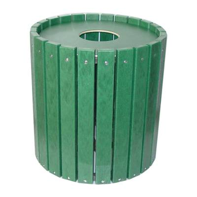 Trash Disposal - Recycled Plastic Trash Receptacles - Quick Ship - 32 Gallon Round Recycled Plastic Trash Receptacle - Quick Ship